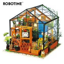 Robotime 14 Kinds DIY House with Furniture Children Adult Miniature Wooden Doll House Model Building Kits Dollhouse Toy DG(China)