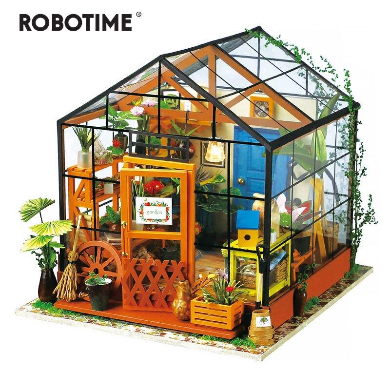 Robotime 14 Tipos DIY Casa com Móveis Adulto Crianças Model Building Kits de Casa De Bonecas Em Miniatura Casa De Bonecas de Madeira Brinquedo DG