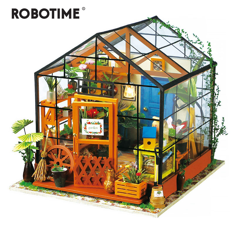 Robotime 6 Kinds DIY House with Furniture Children Adult Miniature Wooden Doll House Model Building Kits Dollhouse Toy DG-in Doll Houses from Toys & Hobbies