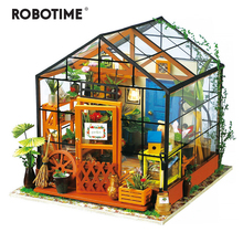 Robotime 6 Kinds DIY House with Furniture Children Adult Miniature Wooden Doll House Model Building Kits Dollhouse Toy DG