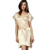 2016 New 100% Natural Silk Sexy Sleepwear Female Plus Size Women's Summer Brand Designer Nightgown Spaghetti Underwear iT317