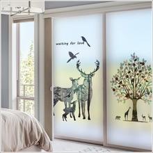 Customized non-adhesive electrostatic glass film bathroom matte film window balcony shop sticker deer decorative film