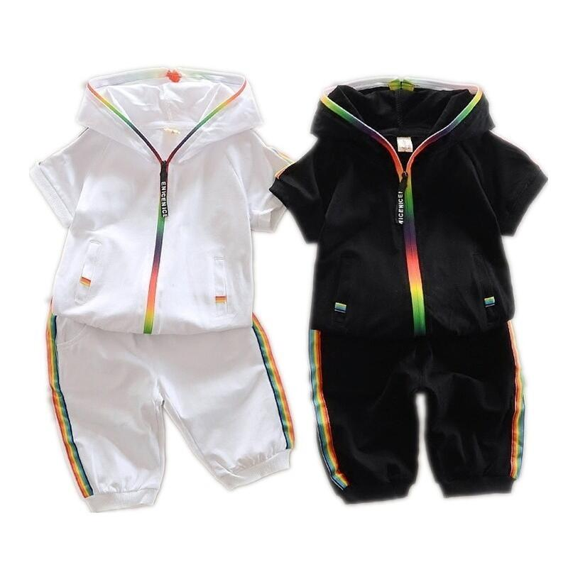 2019 Children Summer Cotton Garment Baby Boys Girls Candy colored Zipper Hoodies Short Kids Short Sleeve Twinsets Tracksuit sets in Clothing Sets from Mother Kids