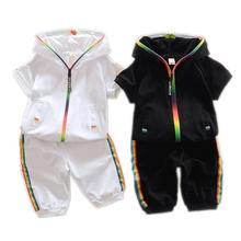 2019 Children Summer Cotton Garment Baby Boys Girls Candy-colored Zipper Hoodies Short Kids Sleeve Twinsets Tracksuit sets
