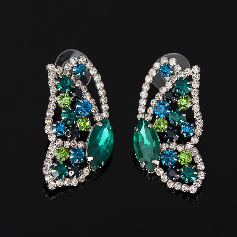 2016 Best Fashion sliver Women Lovely Butterfly Crystal Stud Earrings Famous Designer Jewelry for Women Free Shipping #E051