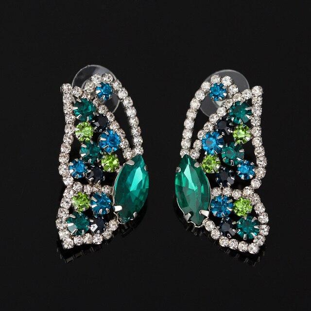 2016 лучшие модные серебристые Для женщин Прекрасная бабочка Кристалл серьги стержня известный дизайнер ювелирных изделий для Для женщин Бесплатная доставка # E051