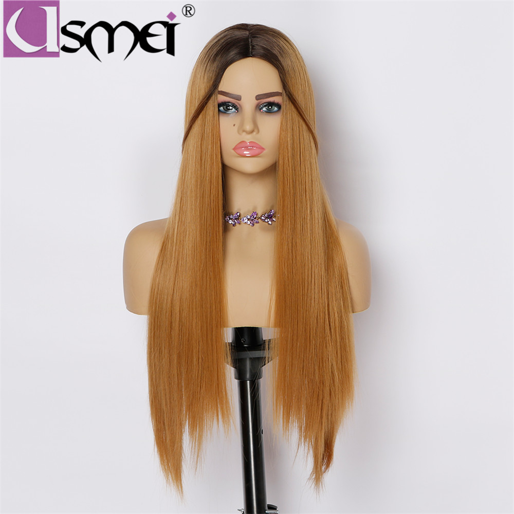 USMEI long straight wigs for women synthetic wig high density temperature fiber Ombre black roots brown hair cosplay party wigs