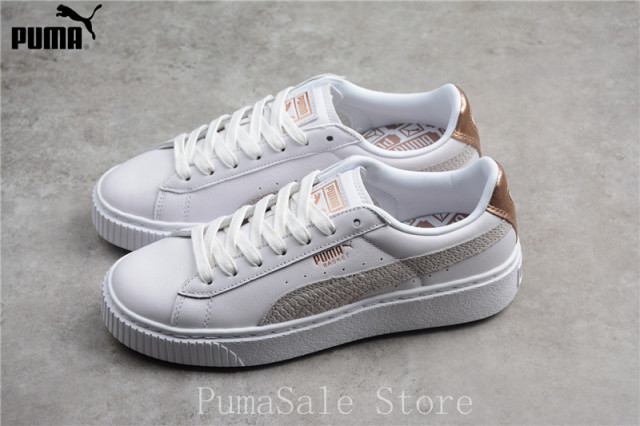 0e75d8123ff3 Puma Basket Platform Euphoria RG Wn Sneaker 366814-02 Badminton Shoes  Rihanna Women White Rose