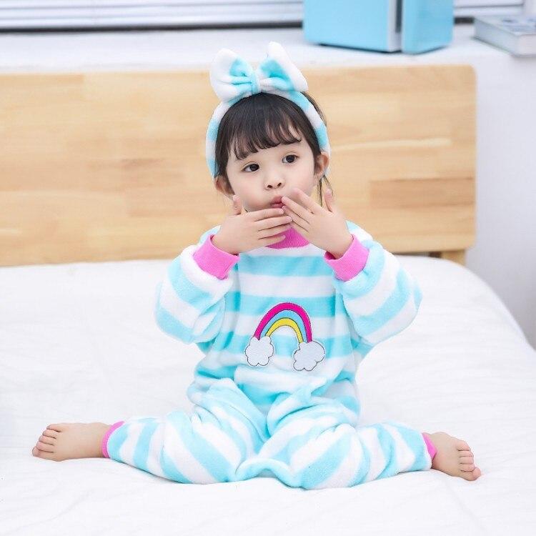 Детские цельные пижамы, детские комбинезоны, одежда года, новые фланелевые пижамы в радужную полоску для мальчиков и девочек, одежда для сна, домашняя одежда - Цвет: Небесно-голубой