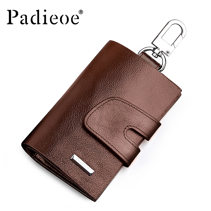 Padieoe New Designer Key Holder Genuine Leather Fashion Housekeeper Brown Wholesale Multifunction Key Card Bag for