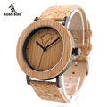 BOBO BIRD K15 Mens Bamboo Wooden Quartz Watches Casual Sport Dress Watches with Wolf Head Dial with Japan Movement in Gift Box