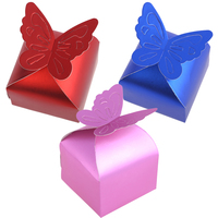 50pcs 6x6x6 5cm Wedding Decoration Sweet Butterfly Candy Box Party Festival Gifts Aluminum Foil Paperboard Red