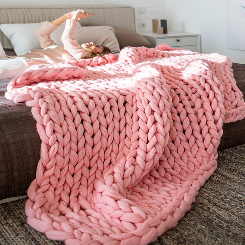 Blanket Large Chunky Yarn Warm Thick Soft DIY 4 Colors Hand Knit Spinning Crocheting Bedroom Living Room Home Decoration Blanket