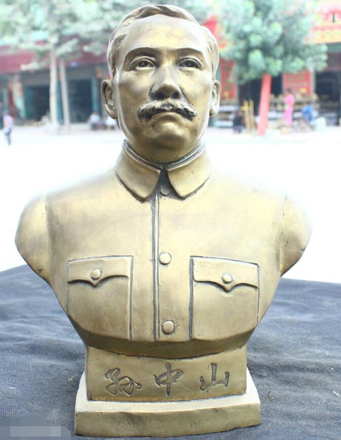Chinese Fengshui Old Bronze Brass Statue Buddhist Temple Sun Yat-sen Sculpture