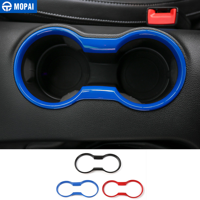 MOPAI Car Interior Front Water Cup Holder Decoration Cover Trim Frame ABS Stickers For Ford Mustang 2015 Up Car Styling цена