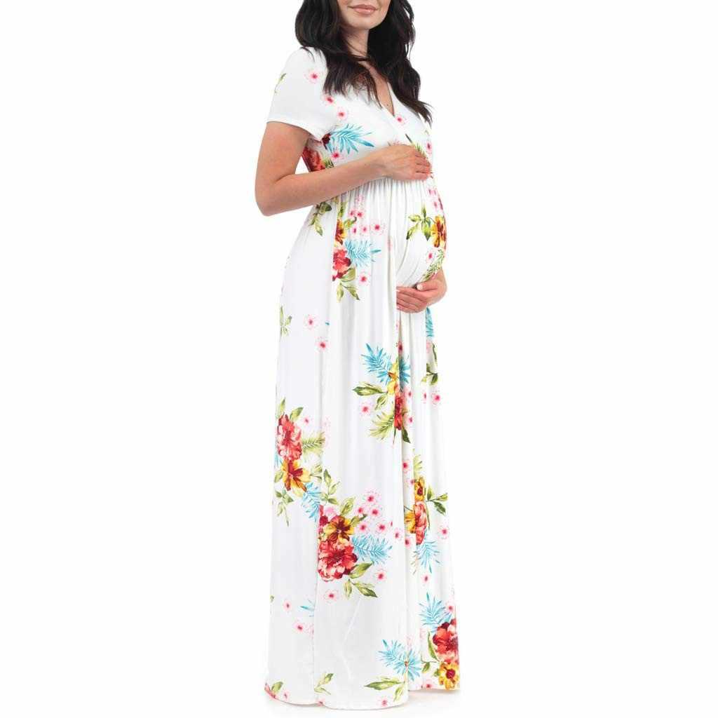 6a879f41dd612 Women's Maternity Short Sleeve V-neck Floral Print Dress Pregnancy Clothes  abiti premaman sukienka ciazowa vestido gravida 2019
