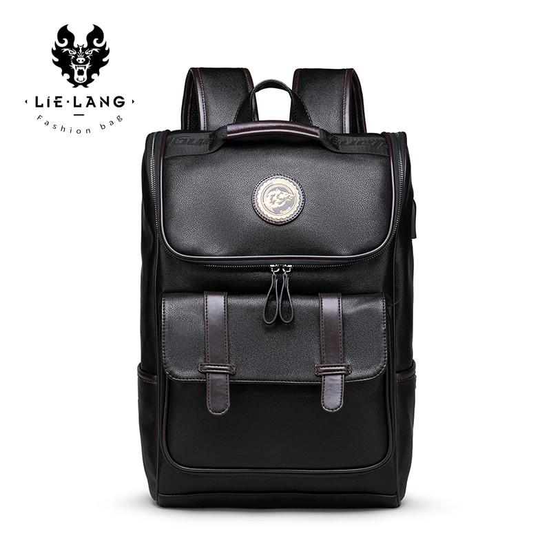 LIELANG Backpack Men Leather School Backpack Bag For College Simple Design Men Casual Daypacks Travel Backpacks