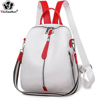Fashion Backpack Women Soft Leather Backpack Female White High Quality Travel Back Pack School Backpacks for Girls Sac A Dos Hot 2019 classic women leather backpacks for girls sac a dos female backpack college travel bagpack ladies back pack mochilas girl