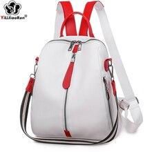 Fashion Backpack Women Soft Leather Backpack Female White High Quality Travel Ba
