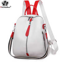 Moda mochila feminina de couro macio mochila feminina branco alta qualidade viagem volta pacote mochilas escolares para meninas sac a dos quente