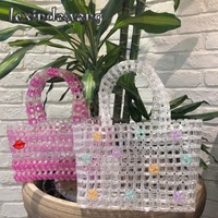 Loli Sweet Hollow Beads Basket Tote Bags for Girls Clear Beads Handmade Weave Pink Handbags Japanese Korean Women Luxury Purses