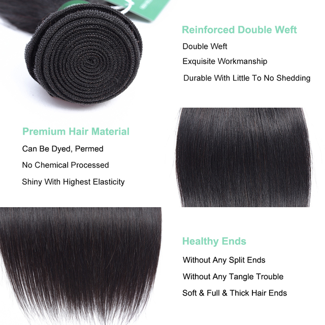 Straight Human Hair Bundles With Closure Peruvian Hair Weave