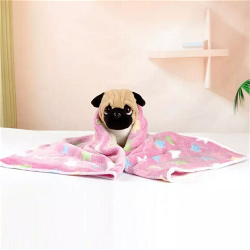 Cute Dog Bed Mats Star Pattern Soft Flannel Fleece Warm Pet Blanket Sleeping Beds Puppy Cushion