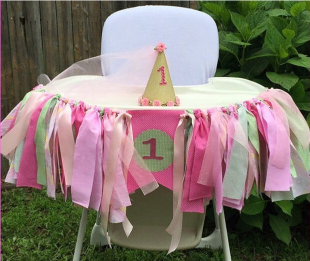Hot Baby Shower Boho Theme Party Garland High Chair Bunting Girl 1st Birthday Decor