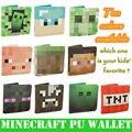 Hot 20 unids/lote Modo TNT Steve Enderman Enredadera Minecraft Carteras Monedero Vaca Juguetes Birthrday Césped PU Billetera Juguete de Navidad de Regalo
