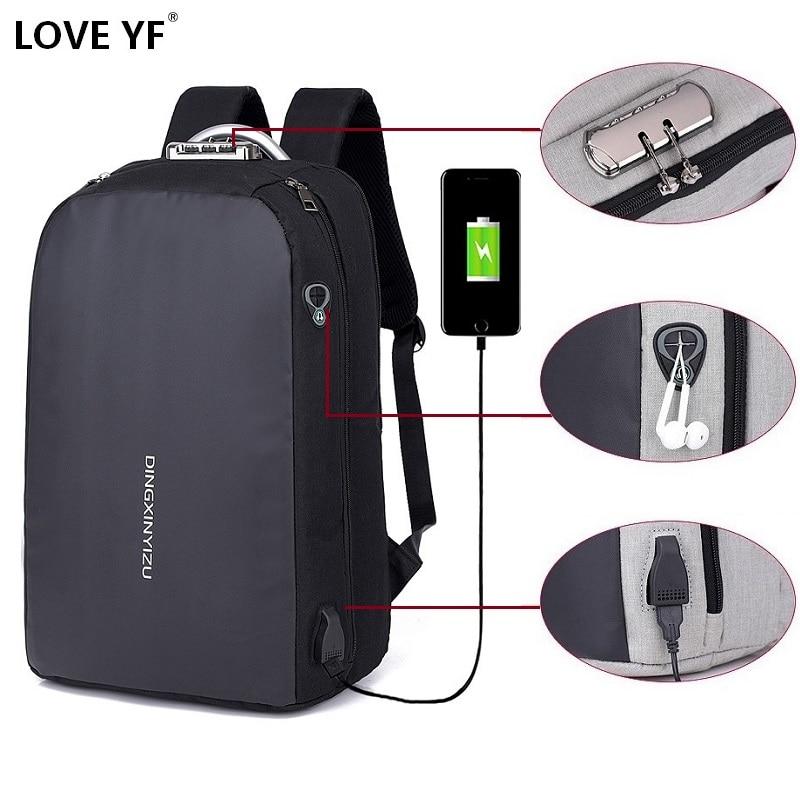 Men's Business Laptop Mochila USB Charging Anti-theft Password Lock School Bag Headphone Jack Music Pack Mochila Mujer Laptop