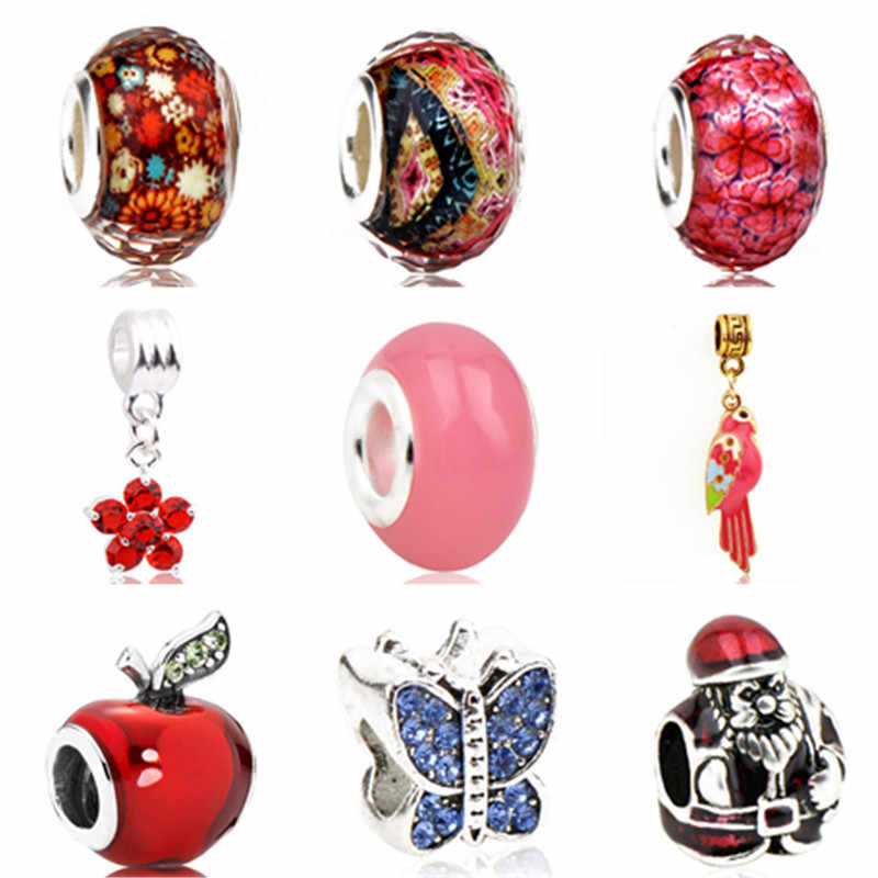 Maxi Crystal Butterfly Flower Apple Bird Cat Owl Cute Animal Beads Fit Pandora Charm Bracelets & Bangles Necklaces DIY Jewelry