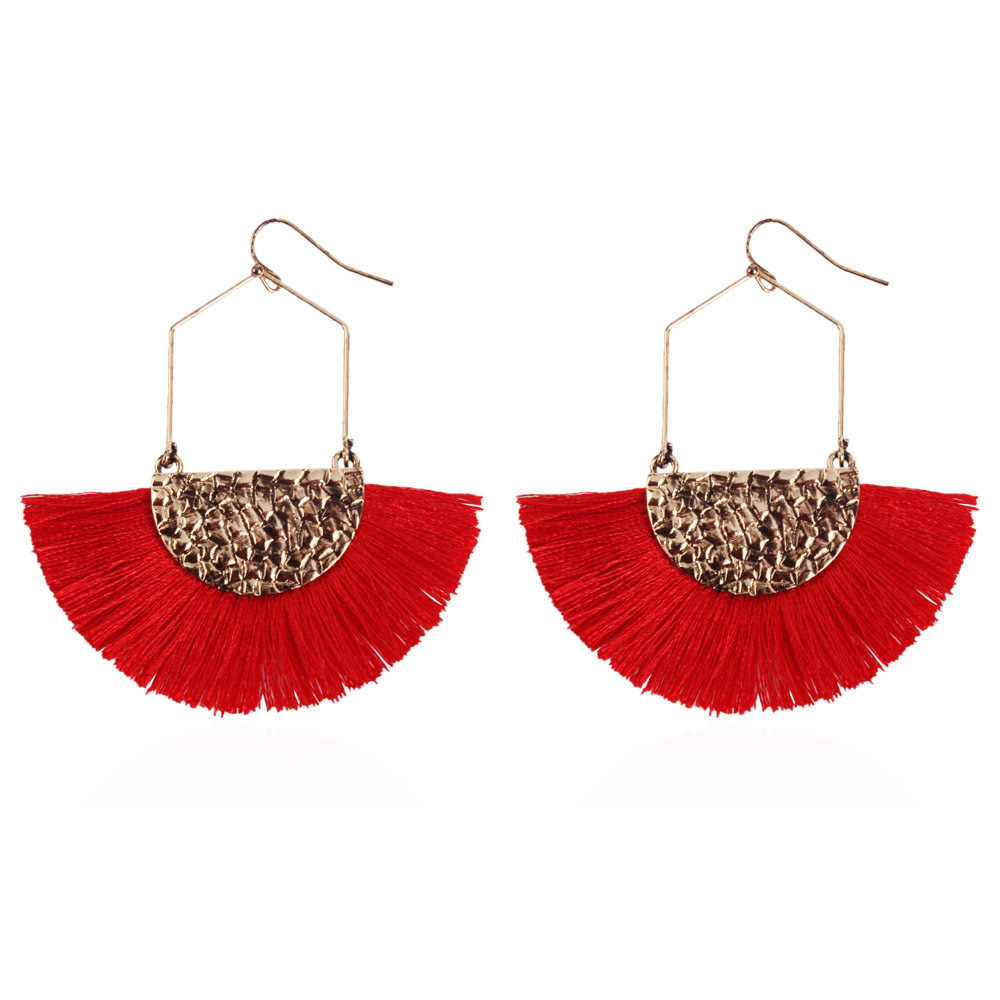 Renya Half Circle Shape Tassel Earrings Vintage Metal Women Earrings For Women Bohe Long Statement Earring For Gift Party
