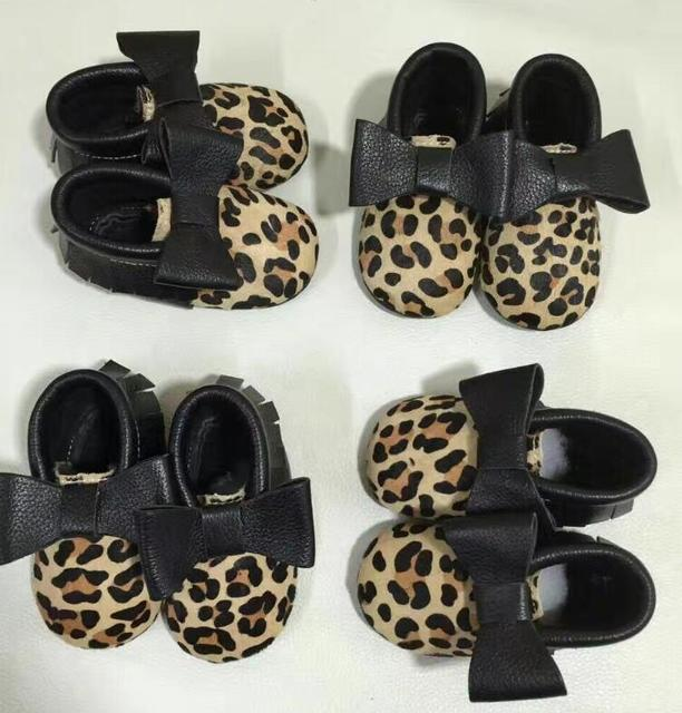 2016 New style leopard baby shoes genuine leather baby moccasins fringe first walkers hard sole newborn shoes