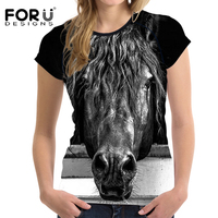FORUDESIGNS Black 3D Horse Head Women T Shirt Summer Casual T Shirt Crop Tee Woman Tops