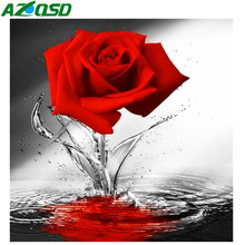AZQSD Diamond Mosaic Red Rose 5D Painting Flowers Cross Stitch Picture Of Rhinestones Home Decor Handmade Crafts