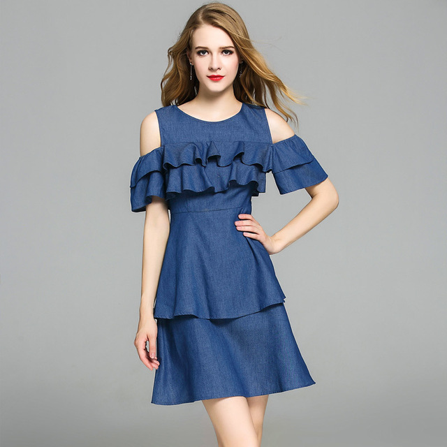 dbe5e424adf1c US $56.0  Sexy Denim Dress Hipster Stacked Lotus Leaf Round Neck Short  Sleeve Fashion Exposed Shoulder Frocks For Dres Women Cute Dresses-in  Dresses ...