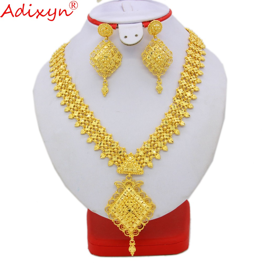 Adixyn Gold Color/Brass India Long Necklace/Earrings Jewelry Set For Women/Girls African/Ethiopian/Dubai Party Gifts N09276 adixyn dubai gold bangles fashion jewelry for women men gold color bangles bracelets african india middle east items free box