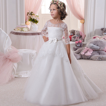 3/4 Long Sleeves Lace Sheer Beaded Flower Girls Dresses For Wedding Birthday Party Toddler Formal Gown Vestidos Comunion