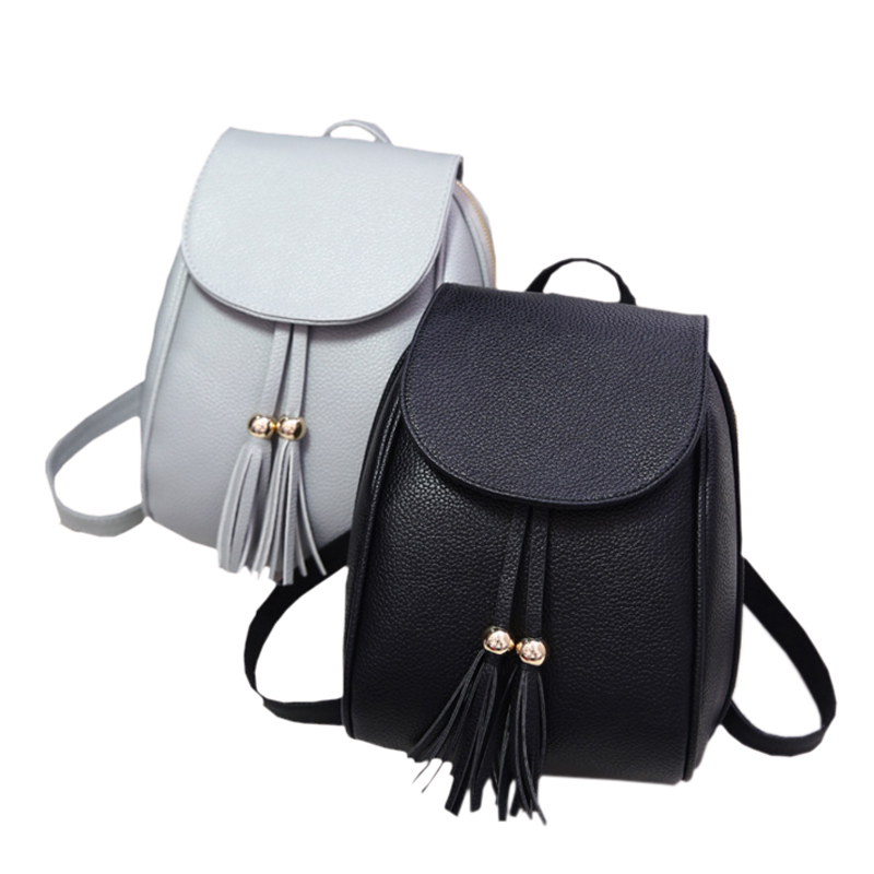 2017 New Arrive Sale PU Leather Woman Backpack Fashion Tassels School Bag Simple Style Casual Student