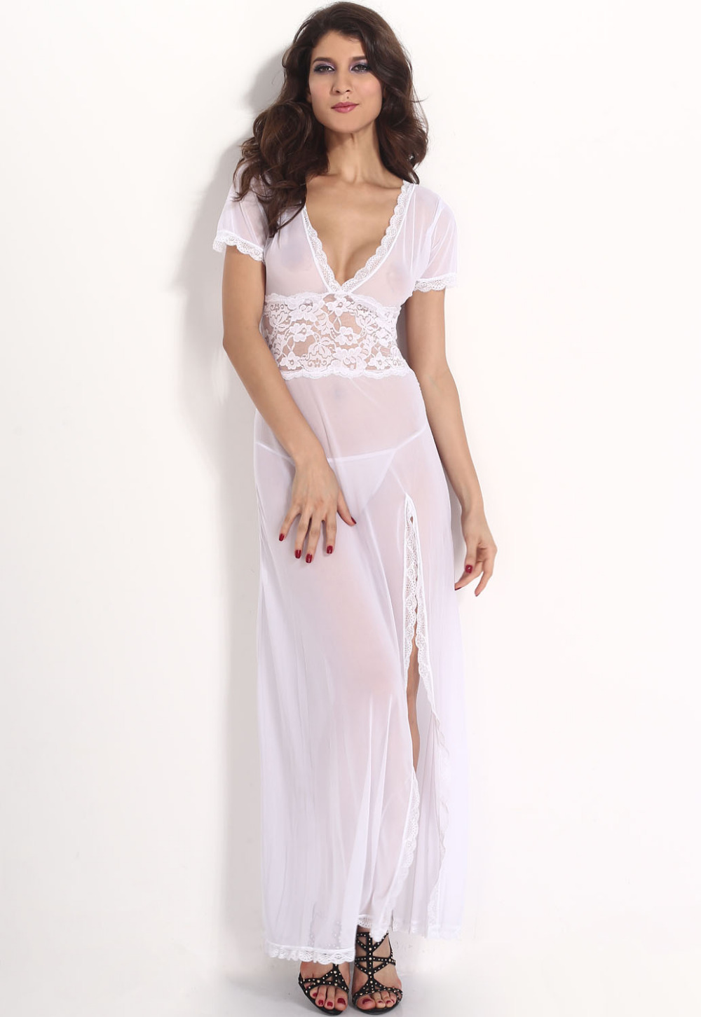 classic porn  sheer nightie babydoll Nightdress Sexy Babydoll Plus Size White Mesh and Lace V Neck Lingerie Gown  6366 Hot Sale