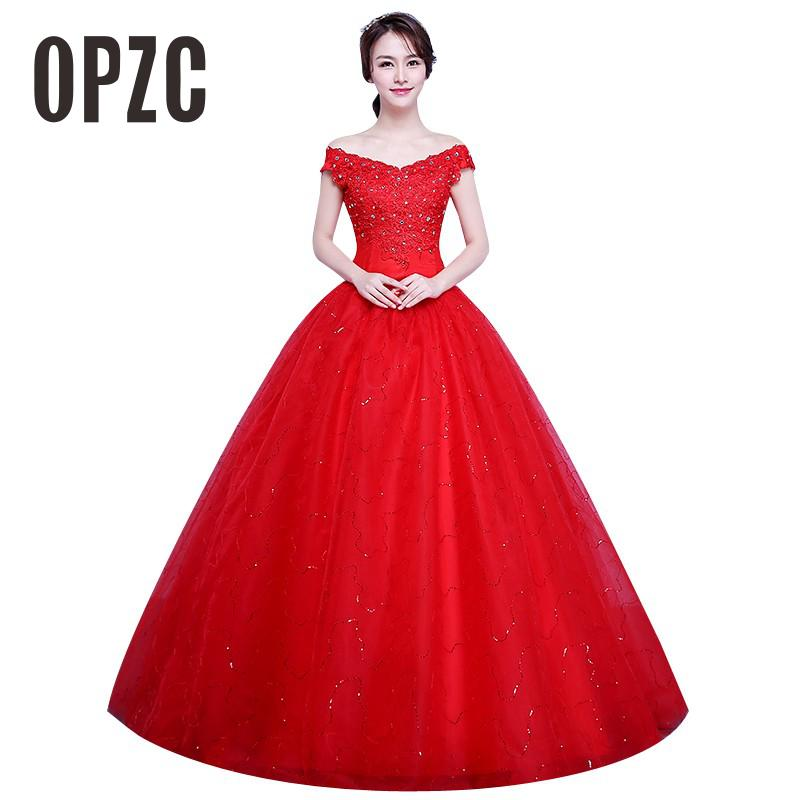 2 Color Real Photo simple Fashion Wedding Dress 2017 New Arrival Korean Style Boat Neck Lace
