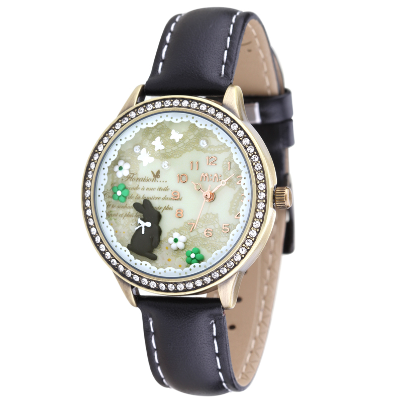MINI World Classic Element Rabbit Clay Watches  for Women Fashion Crystals Wristwatch Quartz Gift Clock Analog Relojes NW7053 romantic girls lovely clay rabbit watches original quartz leather strap wristwatch factory price korean mini brand clock nw840