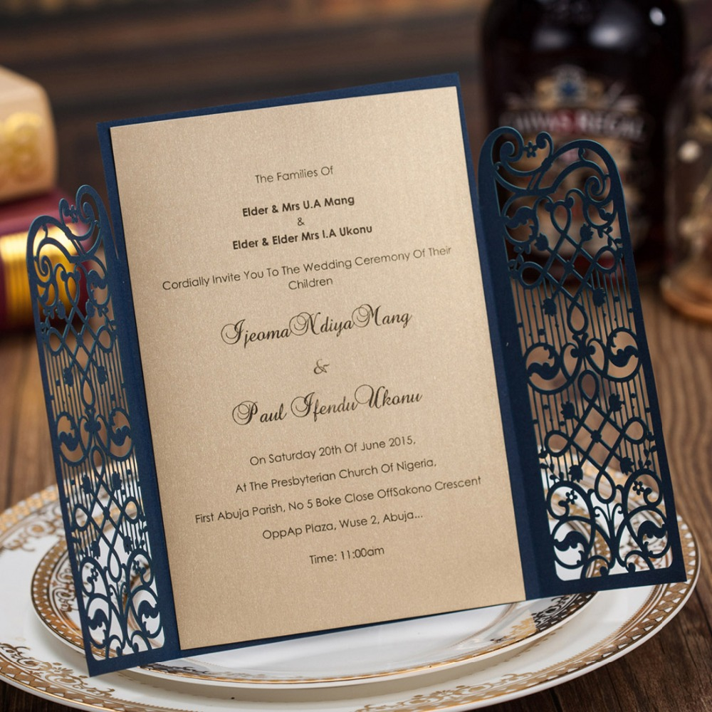 Laser Cut Wedding Invitation Cards Navy Blue Party Invitations for ...