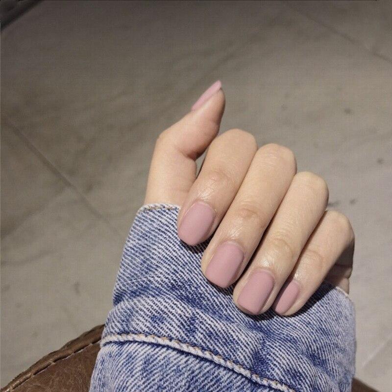 24PCS Matte Pink False Nail Patches Girl Korean Women Manicure Beauty Tool Pure Color Short Square Fake Nails DIY Decoration
