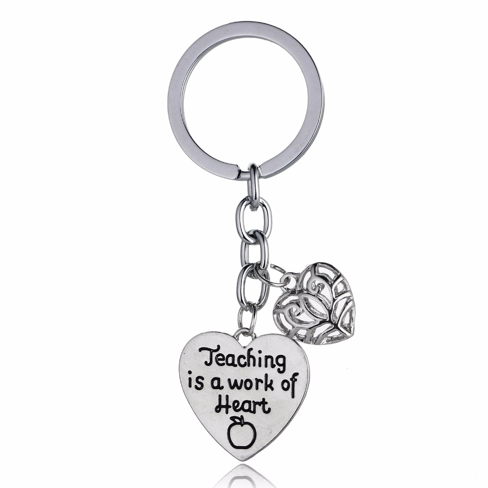 Bespmosp 12PC/Lot Teaching Is A Work Of HeartApple Hollow Heart Pendant Keychain Keyring Charm Chain Jewelry Teachers Day Hot