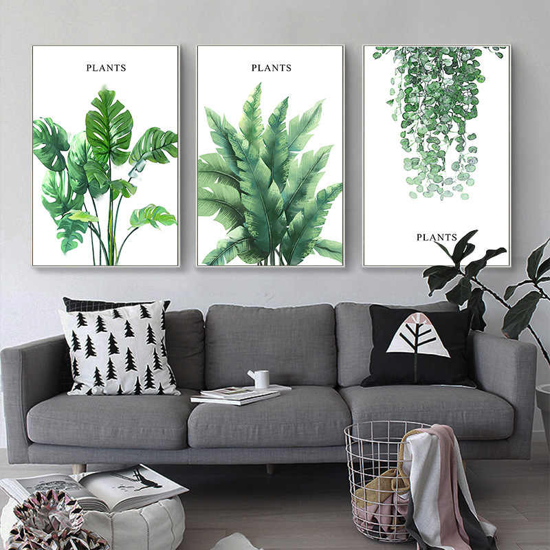 Watercolor Green Tropical Plant Leaves Canvas Art Print Poster ,Nordic Green Plant Wall Pictures Modern Home Decoration No Frame
