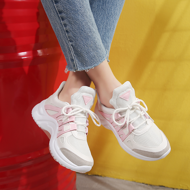 2019 Breathable Mesh Women Casual Shoes Fashion Sneakers Women Vulcanize Shoes Ladies White Wedges Lace Up Footwears