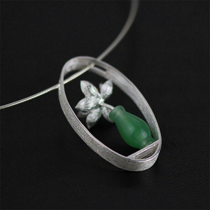 Image 2 - Lotus Fun Real 925 Sterling Silver Natural Aventurine Handmade Fine Jewelry Lotus Whispers Vase Pendant without Necklace Women