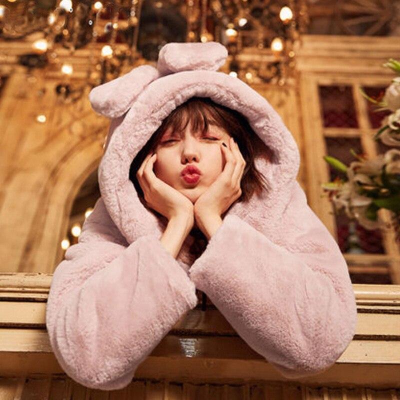 Pardessus Femmes D'hiver Corne Fluffy 2j1118 Gris Vestes Oreille Mignon Épaississent Warmer Lapin Bouton Fourrure Manteau Doux De Survêtement rose Parkas 7wAr7Cq