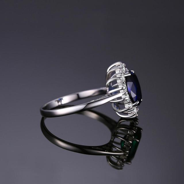 JewelryPalace Created Blue Sapphire Ring Princess Crown Halo Engagement Wedding Rings 925 Sterling Silver Rings For Women 2019 1